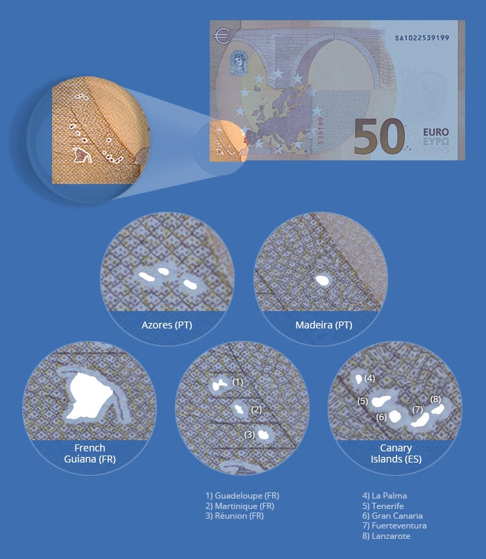 Which territories are depicted in the box next to the map of Europe on the euro banknotes?