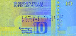 10 markka banknote backside