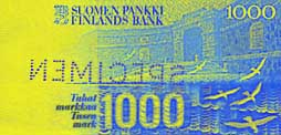 1,000 markka banknote backside