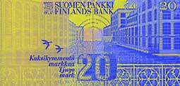 20 markka banknote backside